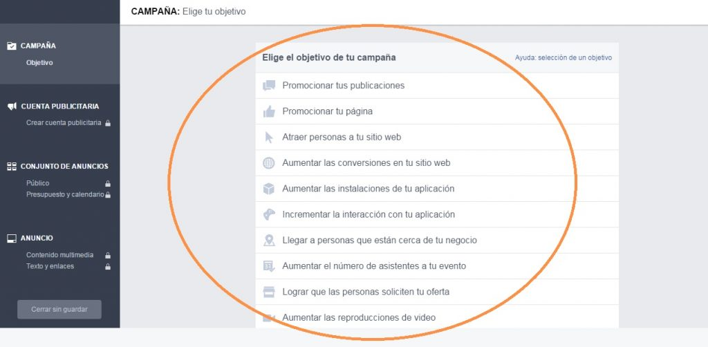 facebook ads objetivos