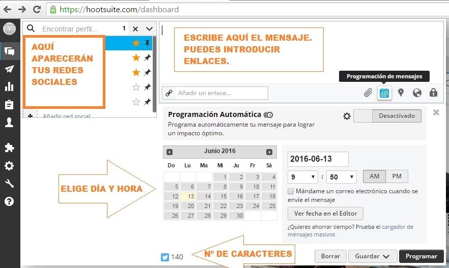 Panel control Hootsuite