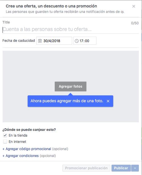 crear ofertas de productos en la página de Facebook