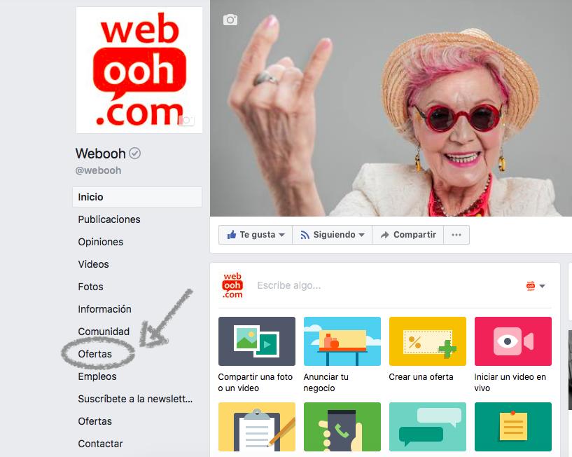 ofertas de productos en la página de Facebook