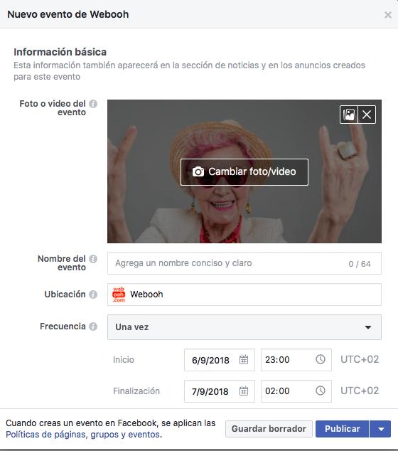 crear eventos en Facebook