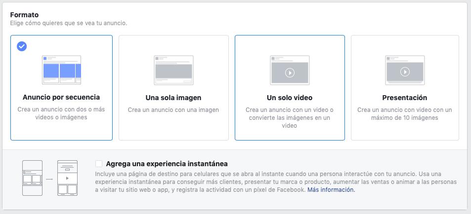tipos de anuncios de Facebook